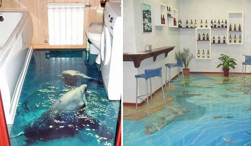 3d epoxy floor dolphin and ocean