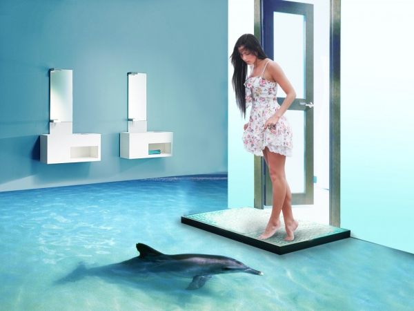 3d epoxy floor dolphin bathroom