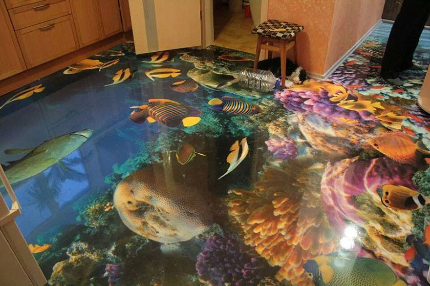 3d epoxy floor kitchen reef