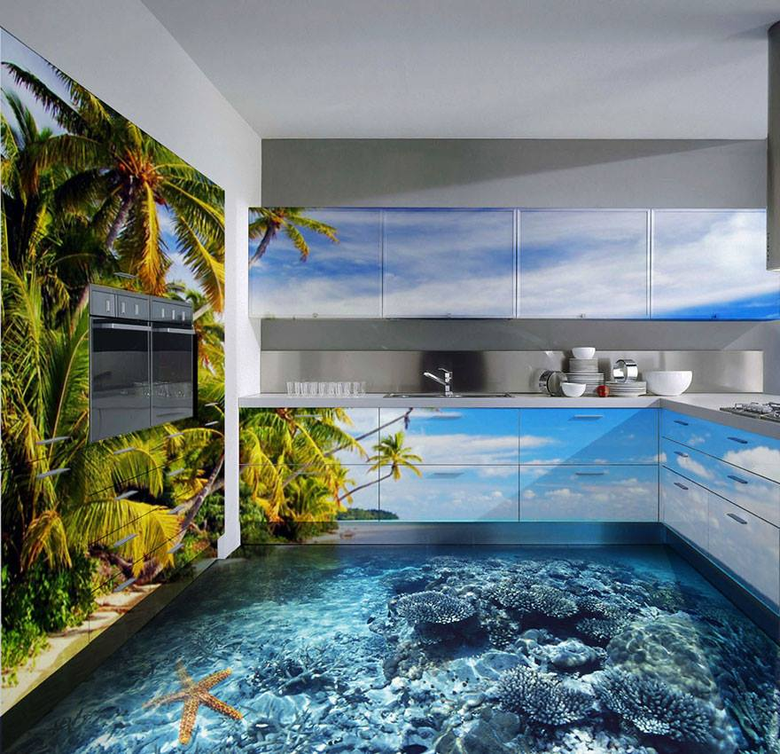 3d epoxy floor reef kitchen