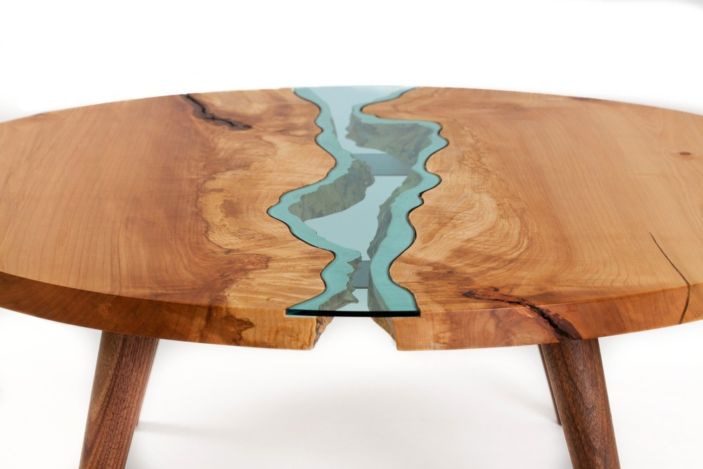 Table topography wood furniture embedded with glass - Articles de table ...